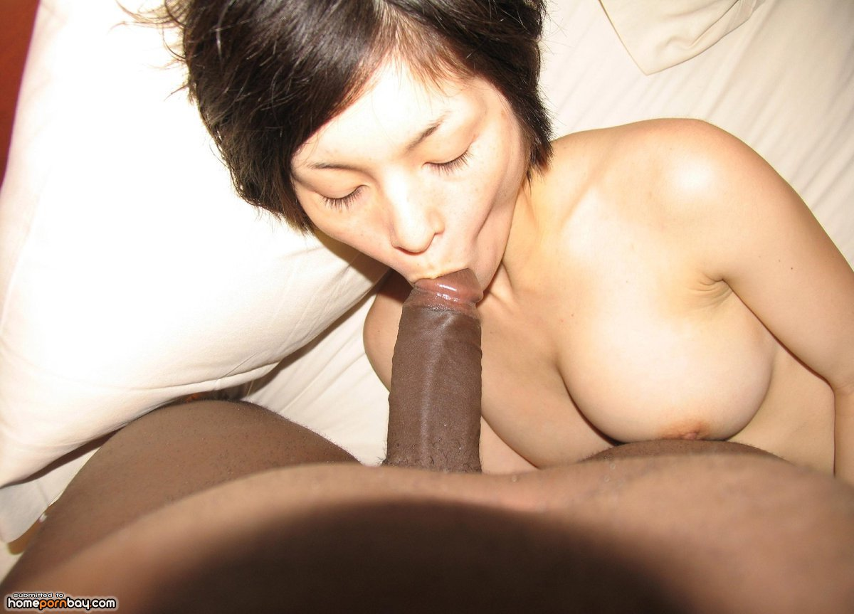 asian homemade suck - Asian amateur slut sucking big black dick