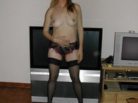 Mature posing in heels and stockings