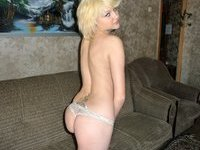 Amateur blonde posing at home