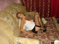 Blonde amateur wife posing at home