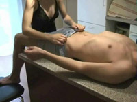 Squirting pussy loves it on the table