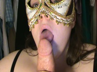 Masked horny darling gagging deep