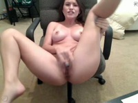 Hot brunette masturbating on webcam