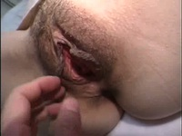 Japanese babe with bushy slit gets touched