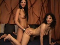 Wild lesbo party with hot strapon action