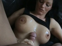 Busty brunette chick gets cum on her tits