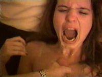 Teen chick boinked hard and getting a facial
