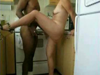 Lustful blonde fucked in kitchen