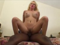 Blonde Milf tasting a massive chocolate dick.