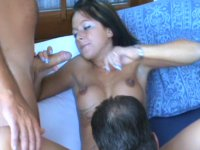 German brunette filled with cocks and cum