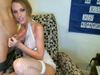Blonde with nice curves getting frisky on cam