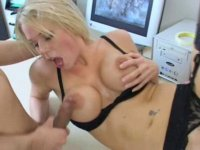 Hot babe pleasing her boss in his office