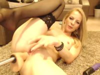 Blonde on the floor gets rammed hard