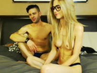 Sweet blonde gets naked with her lover on cam