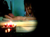Romantic cock massage in the candles lights