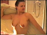 Yvonne takes a shower