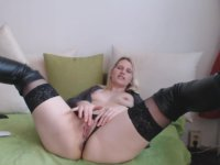 Blonde with small tits jacks off