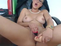 Top heavy girl is using sex toys
