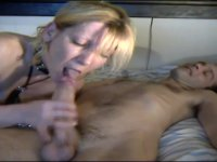 Milf blonde is sucking a dick