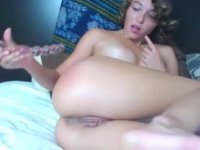 A chick is using her sex toys