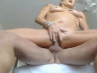 Sexy blonde is handling a cock