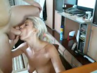 A blonde is doing a blow job