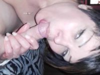 Cutie is handling a large cock