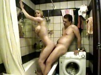 Blonde banged in the bathroom