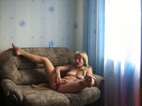 Foxy blonde Ollia is home alone