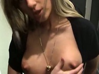 So pretty blonde girlfriend make a risky sex fun in a public woman bathroom