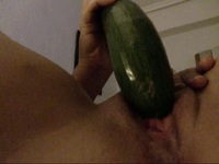 Crazy husband taken on video her pretty wife masturb with a cucumber,!holy fuck!