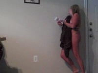 Chubby blonde MILF amateur stripping