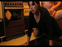 So pretty brunette submissive milf wife suck cock and get fuck doggy in kitchen