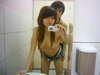Smiley Small Tits Cutie With Her Bf In The Mirror