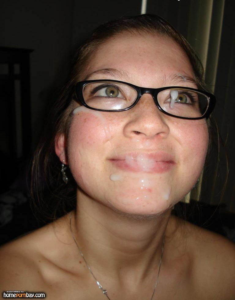 naked nerds with cum on face