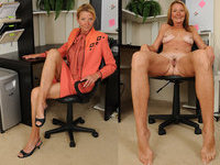 Clothed unclothed mature women