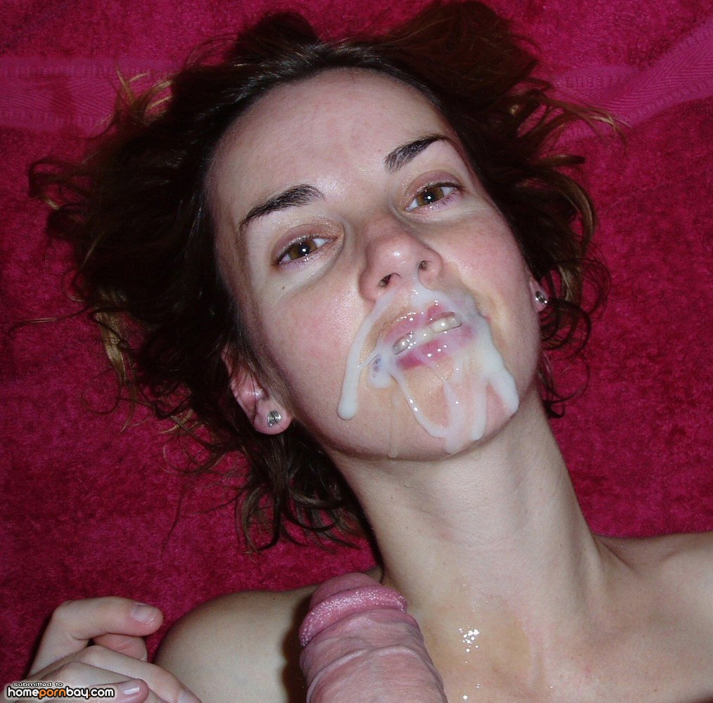 Cum on her young face