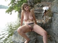 granny posing nude outdoors