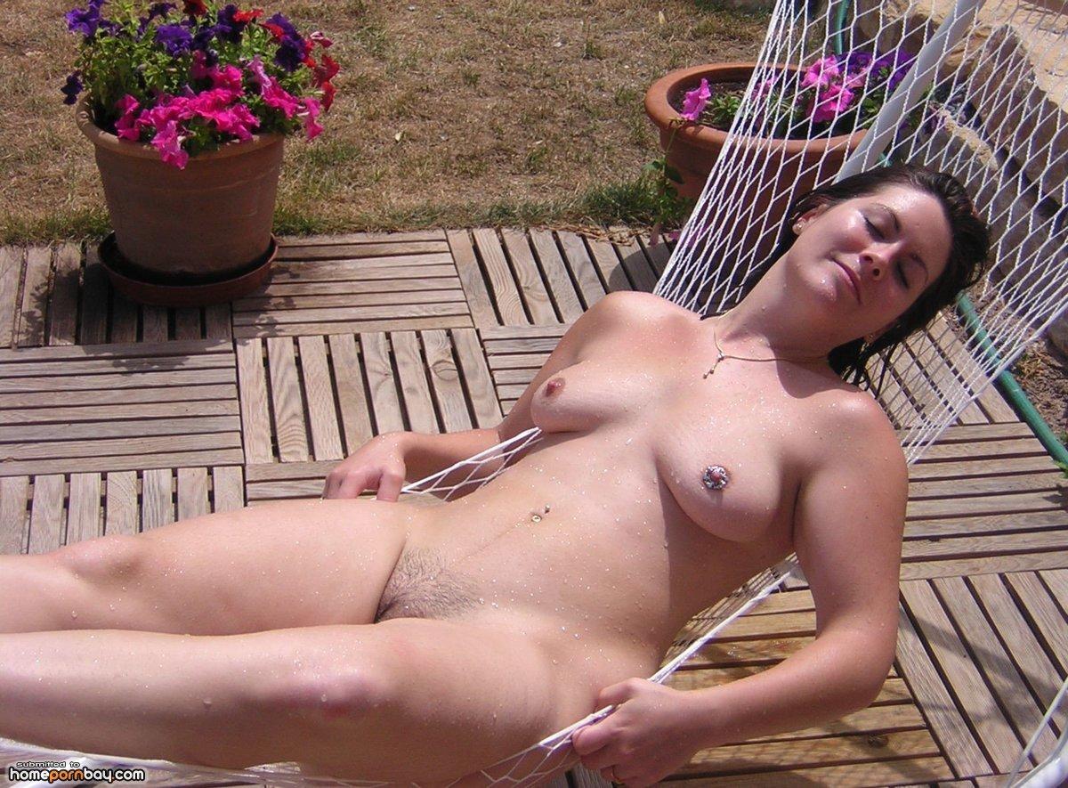 Topless In Backyard
