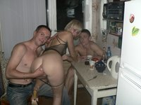 Young Russian blonde likes groupsex