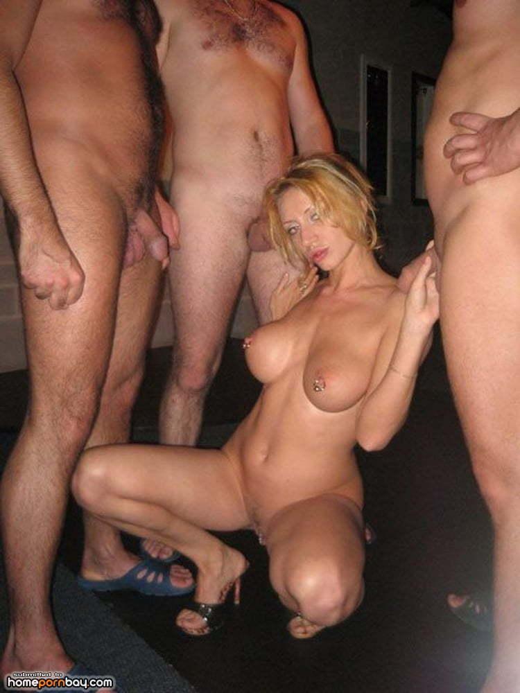 Hot blonde amateur gangbang