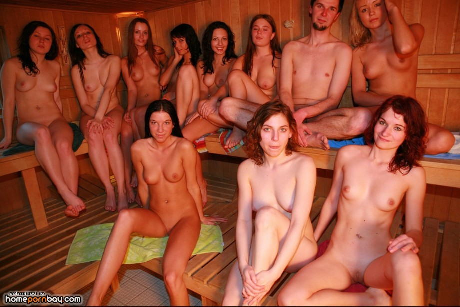Nude girls in the sauna