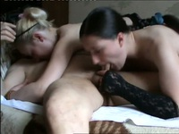 Two babes on one hard dick