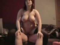 So pretty painted redhair chubby wife suck cock then a great fucking session