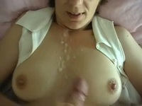 Sperm all over her nice tits