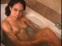 Incredibly cute girl takes a nice hot bath