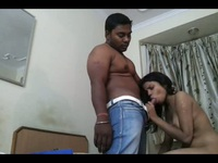 Indian sexy babe munhces on hard dick with gusto