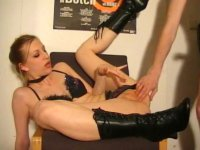 Blonde in black boots getting fucked
