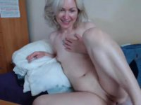 A ripe blonde temptress is getting her shaved cunt teased
