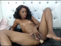 Black chick is massaging herself